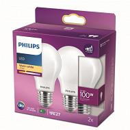 Philips ampoules led classic 100W A60 E27 WW FR ND RF boîte de 2