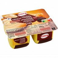 Cora dessert lacté saveur vanille sur lit au chocolat 4x125g