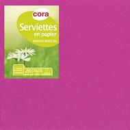 Cora serviettes x50 fucshia 33x33cm 2 plis