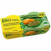 Nature bio pot bébé haricots verts 4/6 mois - 2x120g