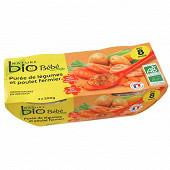 Nature bio bol bébé légumes poulet fermier 8 mois - 2x200g
