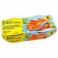 Nature bio bol bébé carotte pomme de terre saumon 8 mois - 2x200g