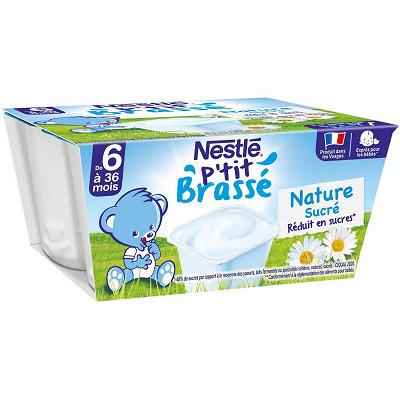 Nestlé Nestlé P'tit Brassé Nature Sucré dès 6 mois 4x100g