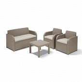 Allibert set georgia cappuccino 4 pieces 1 canapé 2 fauteuils 1 table basse