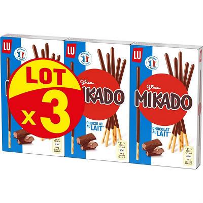 LU Mikado chocolat lait lot 3x90g