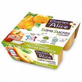 Charles & Alice spécialité de pommes et poires 4x100g sans sucres ajoutés
