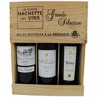 Coffret Bois Grande Sélection Guide Hachette 13.5% Vol.3x75cl