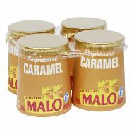 Malo lait pasteurisé emprésure sucré au caramel 4x125g