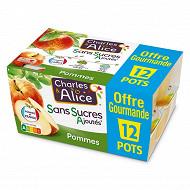 Charles & Alice sans sucre ajouté pomme 12x100g format familial