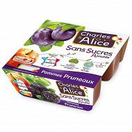 Charles & Alice spécialité de pommes et pruneaux 4x100g sans sucres ajoutés