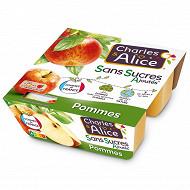 Charles & Alice spécialité de pommes 4x100g sans sucres ajoutés