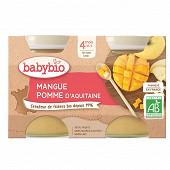 Babybio compote pomme mangue sans gluten 4 mois 2 x 130g