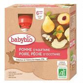 Babybio mes fruits gourde pomme poire pêche sans gluten dès 6 mois 4x90g