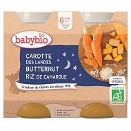 Babybio bonne nuit carotte potiron riz sans gluten dès 6 mois 2x200g