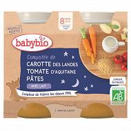 Babybio menu légumes compotée de pâtes carotte tomate dès 8 mois 2x200g