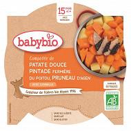 Babybio compotée de patate douce, pintade et pruneaux sans gluten assiette 15 mois 260g