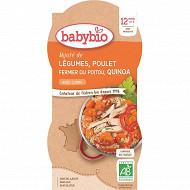 Babybio mijoté de légumes poulet fermier quinoa sans gluten dès 12 mois 2x200g