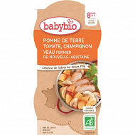Babybio bol pdt tomate champignon veau sans gluten  8 mois 2x200g