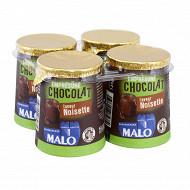 Malo emprésuré chocolat saveur noisette pot carton 4x125g