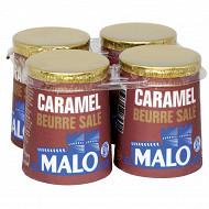 Malo lait pasteurisé emprésuré au caramel beurre salé et au sel de guérande 4x125g