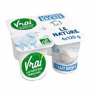 Vrai yaourt nature au lait de brebis 4x120g