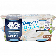 Le Petit Basque spécialité laitiere au lait de brebis sucré à la noix de coco 4x100g