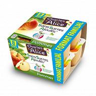 Charles & Alice purée de pommes 8x100g maxi format sans sucres ajoutés
