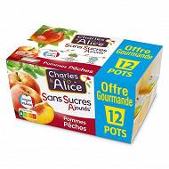 Charles & Alice sans sucre ajouté pomme pêche 12x100g format familial