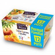 Charles & Alice sans sucre ajouté mirabelle 12x97g format familial