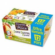 Charles & Alice sans sucre ajouté pomme poire 12x100g format familial
