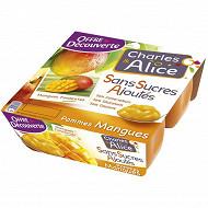 Charles & Alice sans sucre ajouté pomme mangue 4x100g offre découverte