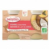 Babybio Pot Pomme d'Aquitaine Banane Coco 6 mois 2x130g