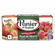 Panier de Yoplait standard fraise framboise 4x130g