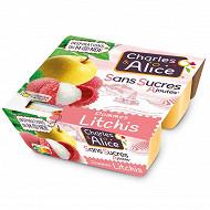 Charles & Alice spécialité de pommes et litchi 4x97g sans sucres ajoutés