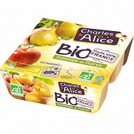 Charles & Alice compote pomme poire bio 4x95g