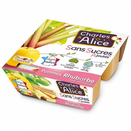 Charles & Alice spécialité de pommes rhubarbe 4x97g sans sucres ajoutés