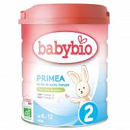 Babybio Primea lait poudre 2ème âge de 6 à 12 mois 800g