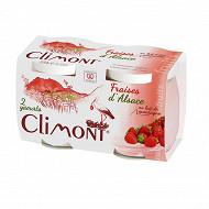 Climont Yaourt au lait entier de montagne fruit Fraise 100% d'Alsace 2x125g