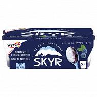 Yoplait skyr 0% sur lit de myrtilles 4x100g