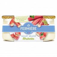 La Fermière yaourt brassé rhubarbe 2x125g