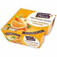 Charles & Alice sans sucre ajouté pomme orange carotte 4x97g