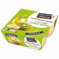 Charles & Alice sans sucre ajouté pomme banane kiwi spiruline 4x97g