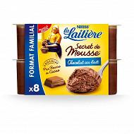 La Laitière Secret de mousse chocolat au lait 8x59g
