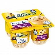 La Laitière Riz au lait rhum - raisins 4x115g