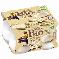 La Laitière Yaourt au lait entier vanille bio 4x125g