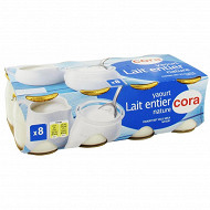 Cora yaourt nature au lait entier 8x125g