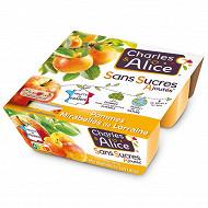 Charles & Alice spécialité de pommes mirabelles 4x97g sans sucres ajoutés
