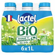 Lactel lait bio demi-écrémé bouteille  6x1l