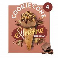 Extrême cookie cône chocolat x4 - 284g