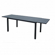 Table extensible alu 200/300 x104 x(h)75 cm /  plateau lattes alu